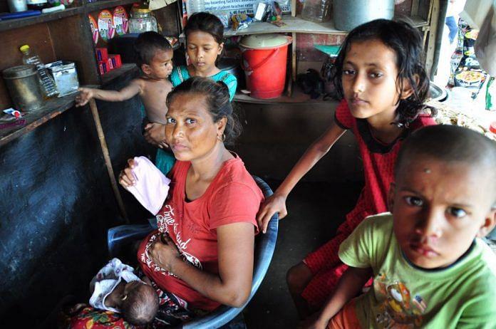 Rohingya refugees at a camp in New Delhi