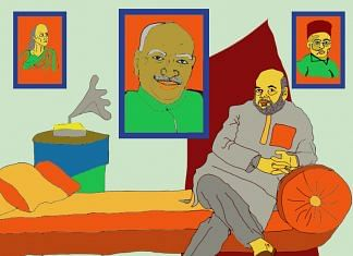 A sketch depicts Amit Shah with pictures of Veer Savarkar, Chanakya and Kamraj in the background.