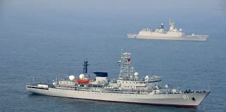 A Chinese Navy vessel off the coast of India. The Chinese Navy is building warships to add to its fleet much faster than imagined.