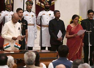 Nirmala Sitharaman being sworn in as defence minister during the cabinet reshuffle in the Narendra Modi government on 3 September, 2017