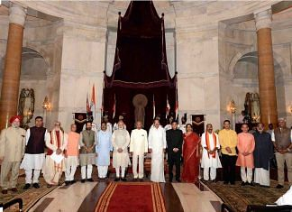 Prime Minister Narendra Modi stands with the President, Vice President and his council of ministers in Rashtrapati Bhavan on 3 September, 2017.