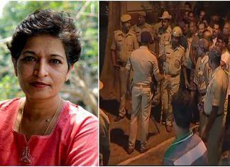 Gauri Lankesh and the scene outside her house