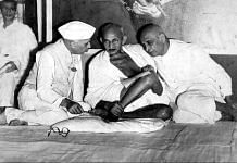 Nehru, Gandhi, and Sardar Patel sitting together