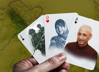 A representational image depicting interlocutor Dineshwar Sharma, Mehbooba Mufti and the Army