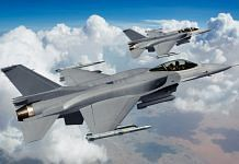 The single engine fighter F-16 manufactured by Lockheed Martin