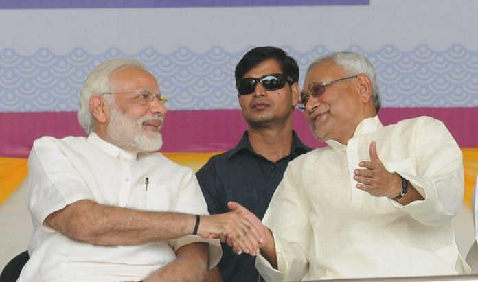 A file image of PM Narendra Modi with Bihar CM Nitish Kumar at the centenary celebrations of the Patna University | Getty Images