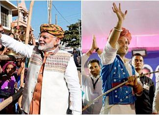 Narendra Modi (left) and Rahul Gandhi (right) on the campaign trail in Gujarat