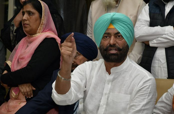 Sukhpal Singh Khaira at a press conference in Punjab Vidhan Sabha | Getty Images
