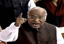 Congress leader Mallikarjun Kharge in the Lok Sabha
