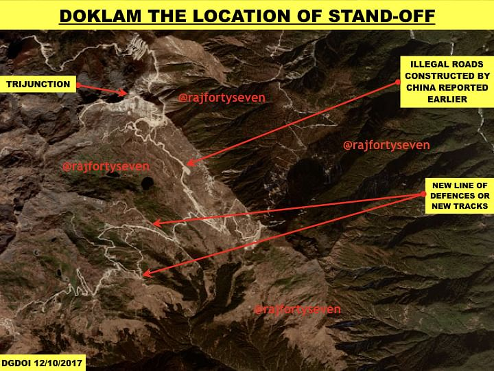Satellite image showing stand off area at Doklam