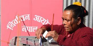 A Nepali woman casting her vote