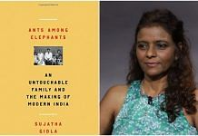 a collage of the book cover (L) with an image of Sujatha Gidla (R)