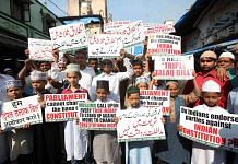 Protest against the government over Triple Talaq Bill. PTI Photo