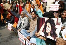 Protest against the release of film Padmaavat