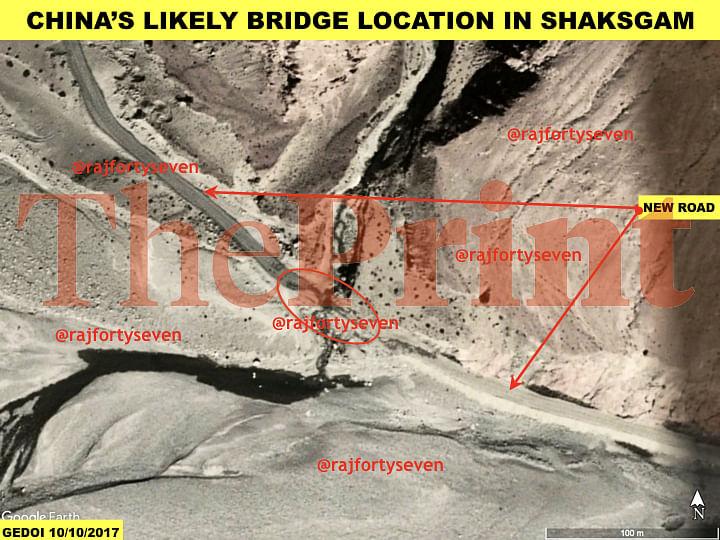 Satellite imagery showing likely bridge near road at Shaksgam valley