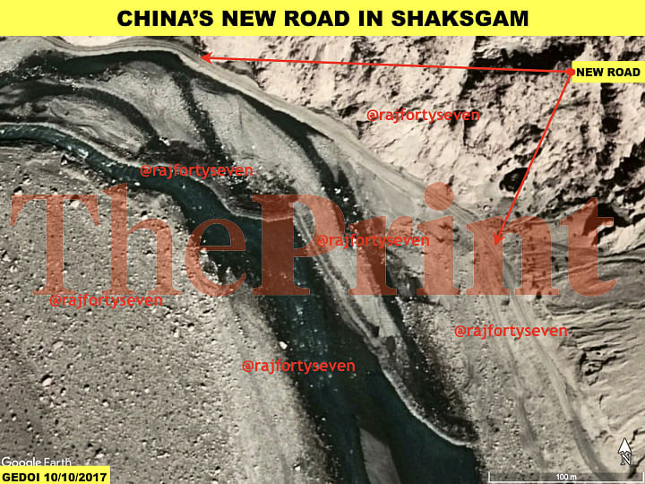 Satellite imagery showing the new road being built by China near the Siachen glacier