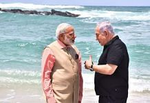 Narendra Modi with Israel PM Benjamin Netanyahu at the Olga Beach, in Israel