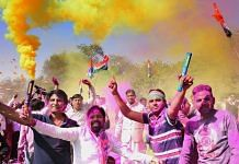 Congress supporters celebrating win in Rajasthan