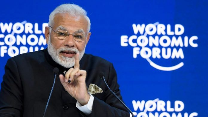 Narendra Modi delivers a speech on the opening day of the World Economic Forum, Switzerland