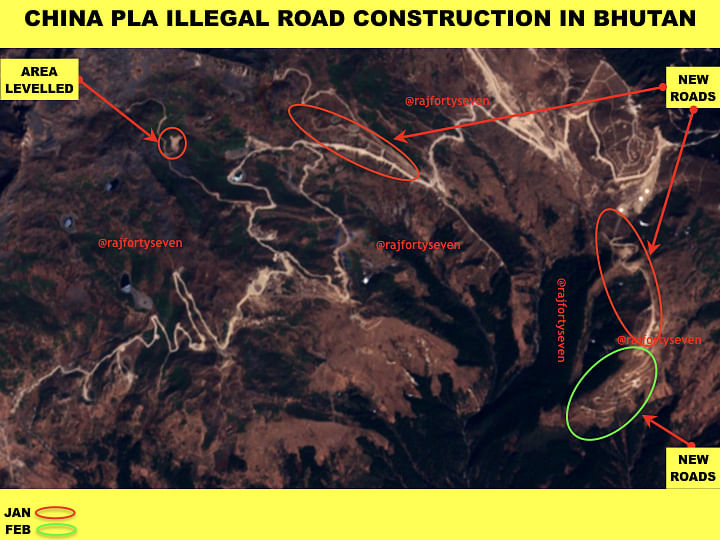 Illegal road building by China in Bhutan | Vinayak Bhat/ThePrint