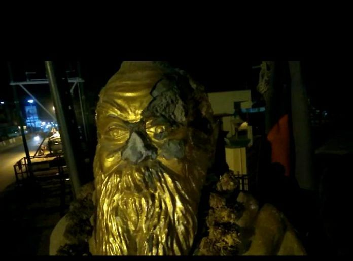 The Periyar statue that was vandalised in Vellore district, Tamil Nadu