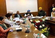 A file photo of Captain Amarinder Singh holding a meeting | Twitter