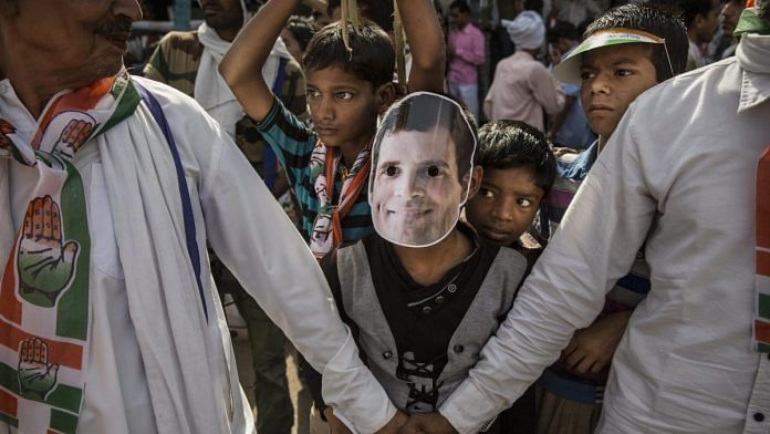 Supporters of the Congress Party's Rahul Gandhi