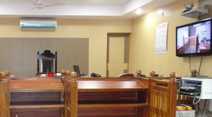 A photo showing video conferencing facilities in an Indian courtroom
