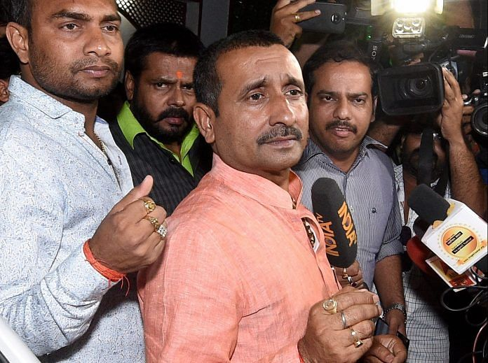 BJP MLA from Unnao Kuldip Singh Sengar reached SSP office