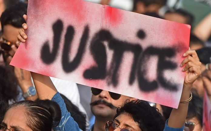 A protest demanding justice for the victims of Kathua and Unnao rape cases