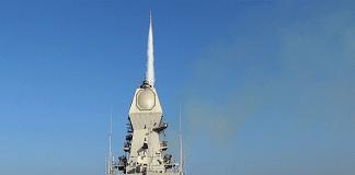 INS Kolkata firing a Long-Range Surface-to-Air Missile