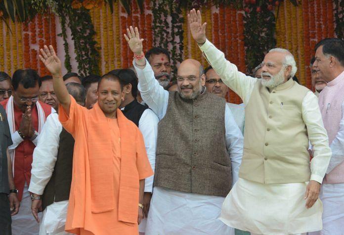 Amit Shah, Yogi Adityanath and Narendra Modi in Lucknow   Ashok Dutta/Hindustan Times via Getty Images