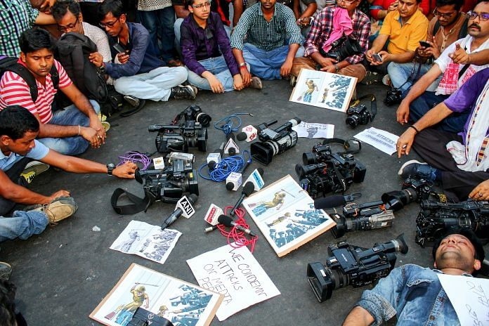 Representative image of journalists protesting