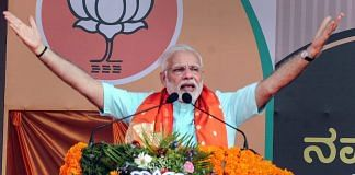 Prime Minister Narendra Modi at an election campaign rally in Udupi