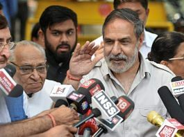 Senior Congress leader Anand Sharma, accompanied by a party delegation, talks to the media after a meeting with the Election Commission over alleged malpractices by the BJP and central agencies to subvert free and fair elections in Karnataka, in New Delhi on Wednesday