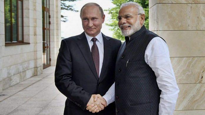 Prime Minister Narendra Modi meeting Vladimir Putin, at Sochi, Russia | PTI