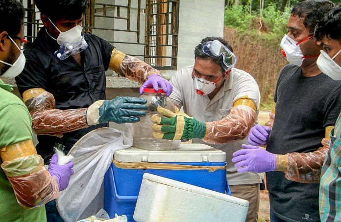 Animal Husbandry department and forest officials collect bats from a well of a house after the outbreak of 'Nipah' virus