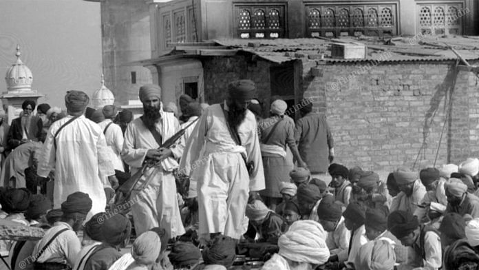 A 1983 photo of Jarnail Singh Bhindranwale (with the rifle) | Photo: Praveen Jain | ThePrint.in