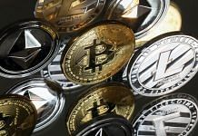 A collection of bitcoin, litecoin and ethereum tokens