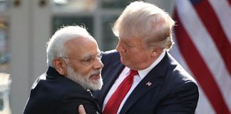 U.S. President Donald Trump and Indian Prime Minister Narendra Modi embrace in Washington, DC | Photo by Mark Wilson/Getty Images
