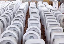 Toilet bowls at a factory in Bahadurgarh, Haryana.