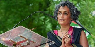 Author and activist Arundhati Roy addresses a protest organised by the activists of Campaign against State Repression on Rights over various issues, at Jantar Mantar in New Delhi in August, 2018. | PTI