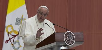 Pope Francis, speaks during the welcoming ceremony at The National Palace in Mexico City ~ Susana Gonzalez/Bloomberg