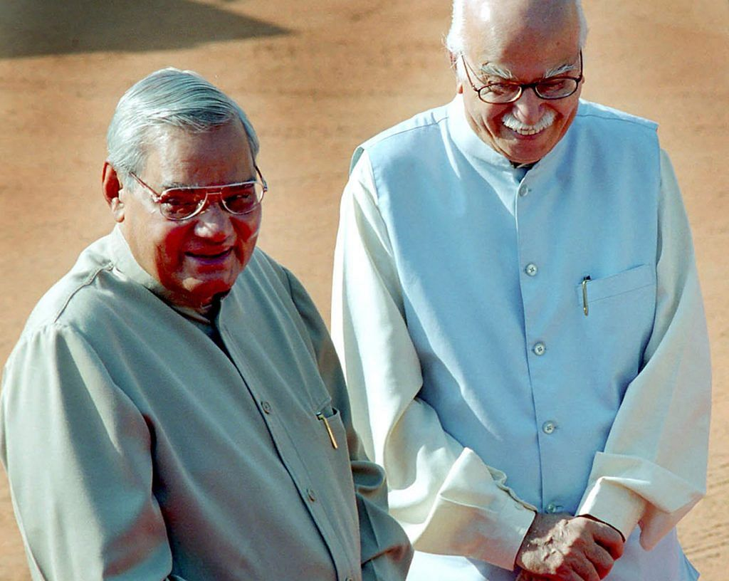 Long time friends former Prime Minister Atal Behari Vajpayee with ex- deputy Prime Minister Lal Krishan Advani in this photo shot