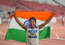 Swapna Barman celebrates after winning the gold medal in the women's Heptathlon event | PTI
