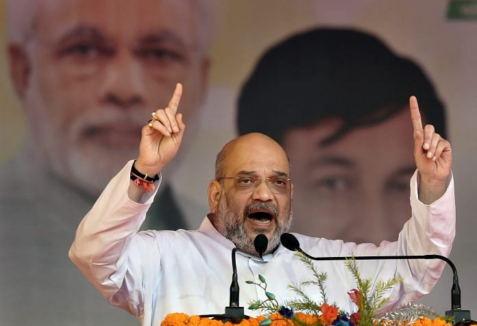 File image of BJP President Amit Shah addressing the Purvanchal Mahakumbh at Ramleela Maidan in New Delhi | PTI