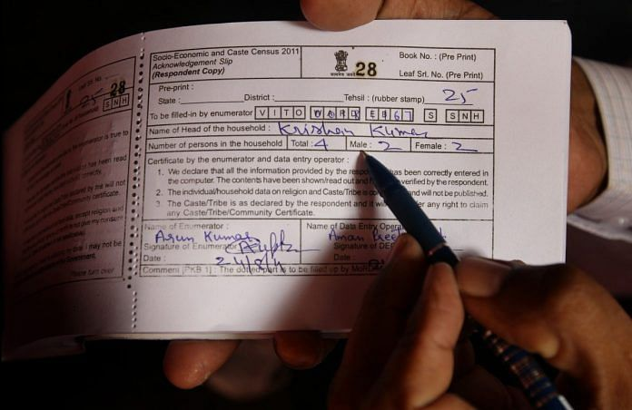 An example of the receipt given to participants in the 2011 caste census in India | Kate Geraghty/The Sydney Morning Herald/Fairfax Media via Getty Images
