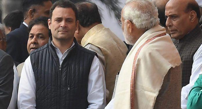 File photo of Rahul Gandhi and Prime Minister Narendra Modi | PRAKASH SINGH/AFP/Getty Images