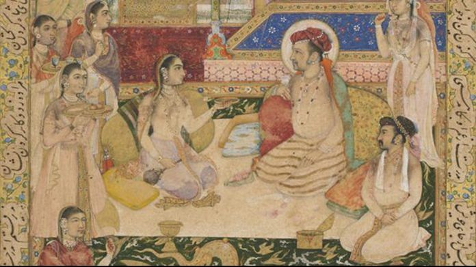 A section of a painting of Jahangir and Prince Khurram with Nur Jahan | Wikimedia Commons