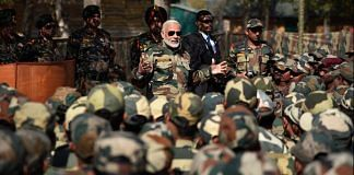 PM Modi with Army and BSF Jawans in Kashmir in 2017   @narendramodi/Twitter